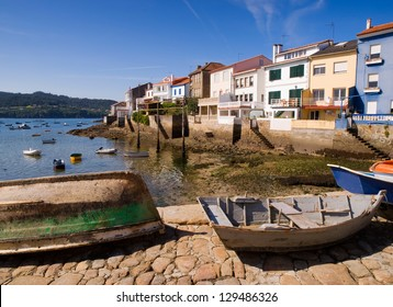 """Wooden boats in a fishing village. This village is called """"Redes"""" and is located in Galicia, Spain."""