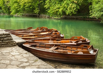 Wooden boats for hire for tourists in Plitvice Lakes National Park. Croatia
