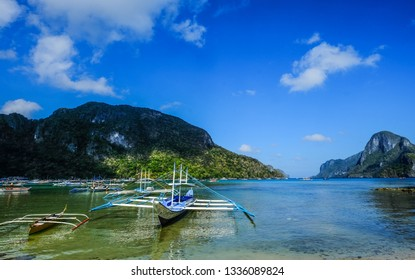 Wooden boats on the sea in Coron Island, Philippines. Coron is one of the most attractive island paradise in Asia.