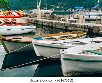 Wooden boats on the water. In the Bay of Kotor in Montenegro. Marine boats.