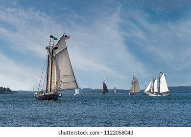 Wooden Boats Sail Into Boat Festival - historic wooden boat gathering in Maine, USA