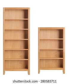 Wooden bookcase isolated