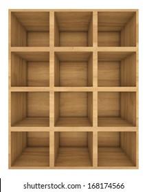 wooden bookshelf. 3d render on white background.