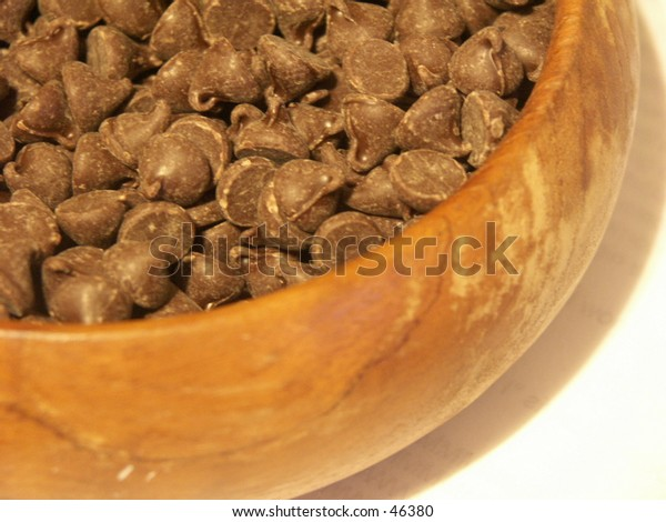 Wooden Bowl of Chocolate Chips