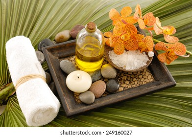 Wooden bowl of flower with cinnamon ,shell , spoon ,soap on green palm