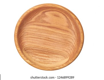 Wooden bowl isolated on white background,top view