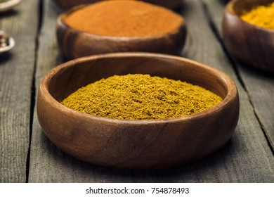 Wooden Bowls with turmeric on wooden gray table