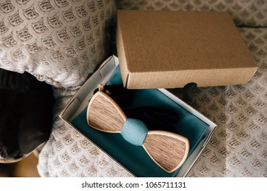 wooden bowtie in a box