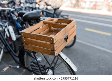 Wooden box basket on a bicycle