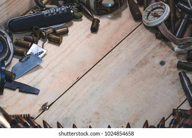 wooden box with bullets amomo equipment terrorist arsenal terrorism top view