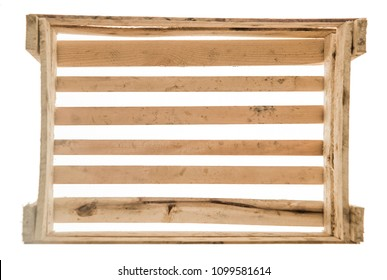 wooden box case isolated on white background. top view. empty background.