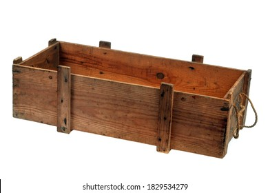 Wooden box close-up on white background