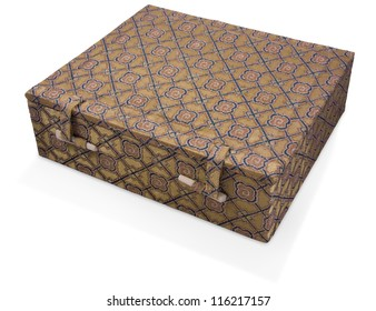 Wooden box covered with oriental fabric closed by ivory locks