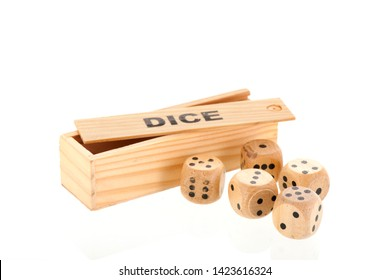 Wooden box dices with different values isolated over white background
