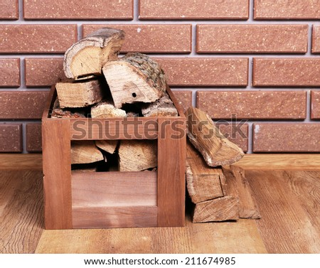 Wooden Box Firewood On Floor On Stock Photo Edit Now 211674985