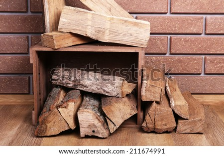 Wooden Box Firewood On Floor On Stock Photo Edit Now 211674991