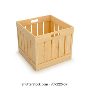 Wooden box on a white background. 3D illustration