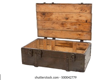 wooden box with open lid isolated on white background