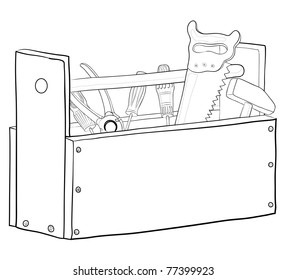 Wooden box with operating tools, contours