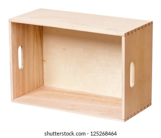 Wooden box for packaging isolated on a white background