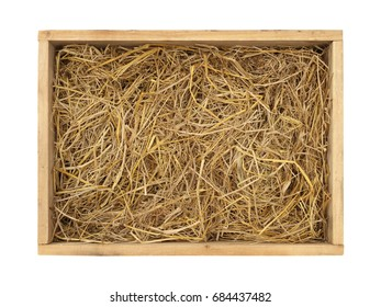Wooden box with straw (with clipping path) isolated on white background