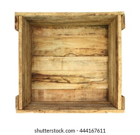 Wooden box (with clipping path) isolated on white background