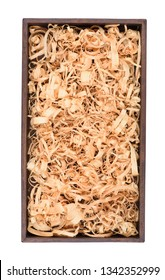 Wooden box with wood shavings straw chips fillings isolated on white. Wine box top view.