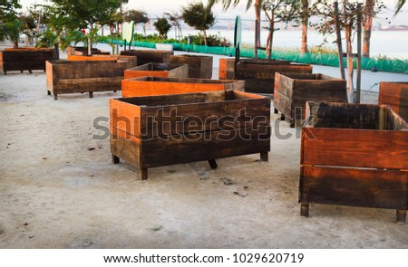 Wooden Boxes Decorating Garden Stock Photo Edit Now 1029620719