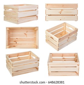 Wooden boxes isolated on white background