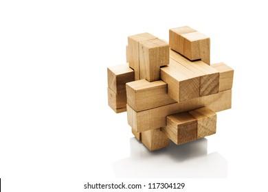Wooden Brain Teaser on White Background