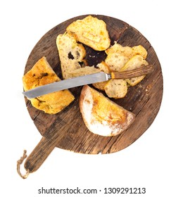 Wooden Bread Board with Knife on a white background