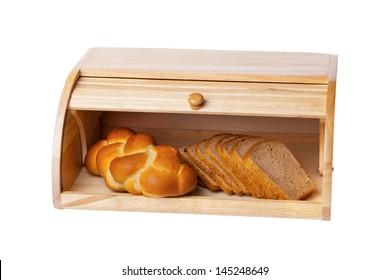 wooden bread box isolated on white