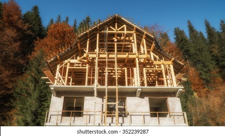 Wooden brick Half-timbered house under construction