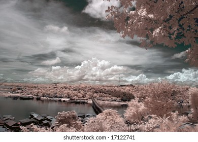 Wooden Bridge across the river ,  Thailand taken in Near Infrared