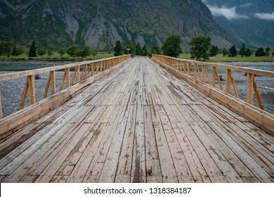 Wooden bridge, Altay, Siberia, Russia