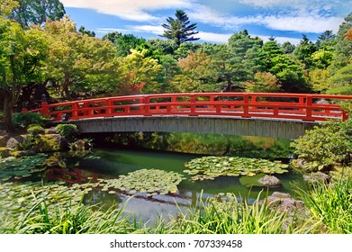 Wooden bridge in the autumn park, Japan autumn season, Yonago.Japan