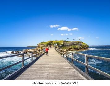 Wooden Bridge to Bare Island Fort in La Perouse. Beautiful Landscape in Australia.