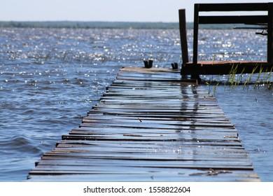 Wooden bridge by the Siemianowka Lake in Poland