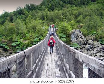 Wooden bridge. Chilean Patagonia