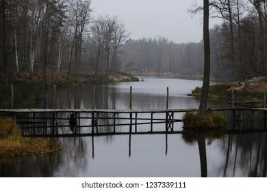 wooden bridge connecting quiet shores