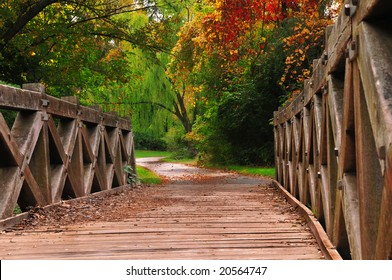 Wooden bridge during autumn