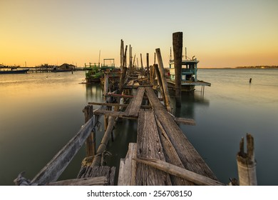 wooden bridge in a fisherman village