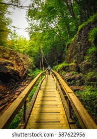 Wooden Bridge in the Flume Gorge. It is a Natural Gorge in Franconia Notch State Park, New Hampshire, United State.