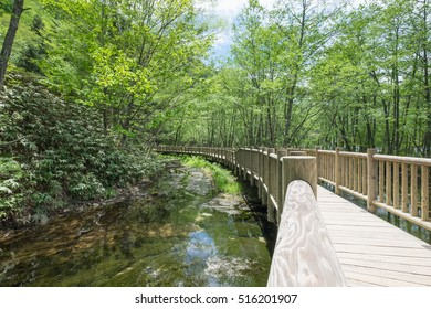 A Wooden bridge in the hiking trail at Kamikochi National Park during Spring Season