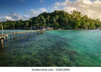 Wooden bridge to the island