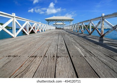 Wooden bridge, koh Sichang,Chonburi Thailand .