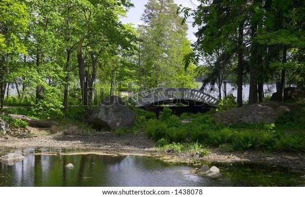 Wooden bridge near the lake