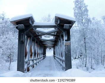 Wooden bridge near Olympic Park. Built in 1888. Lillehammer, Norway