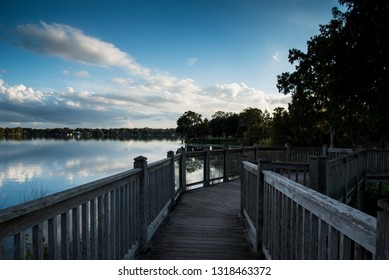 Wooden Bridge on Lake
