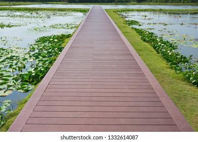 Wooden bridge on the Lotus lake.